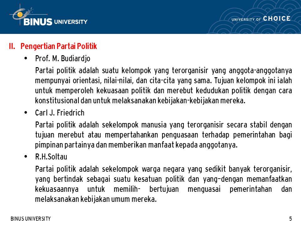 Pengertian Partai Politik Prof. M. Budiardjo