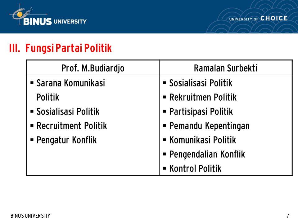 Fungsi Partai Politik Prof. M.Budiardjo Ramalan Surbekti