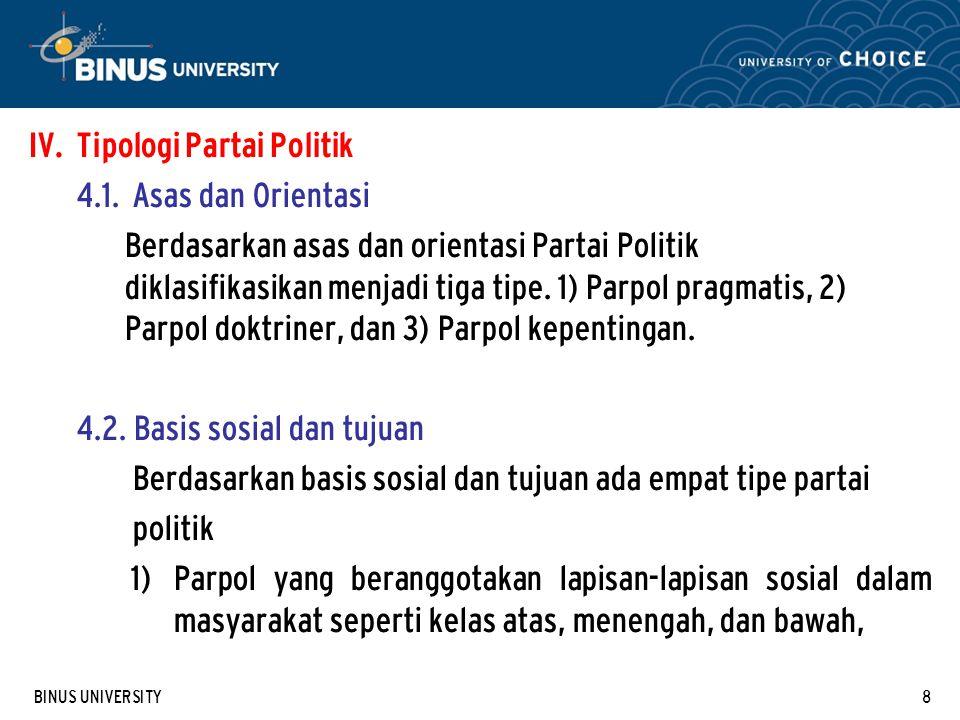Tipologi Partai Politik 4.1. Asas dan Orientasi