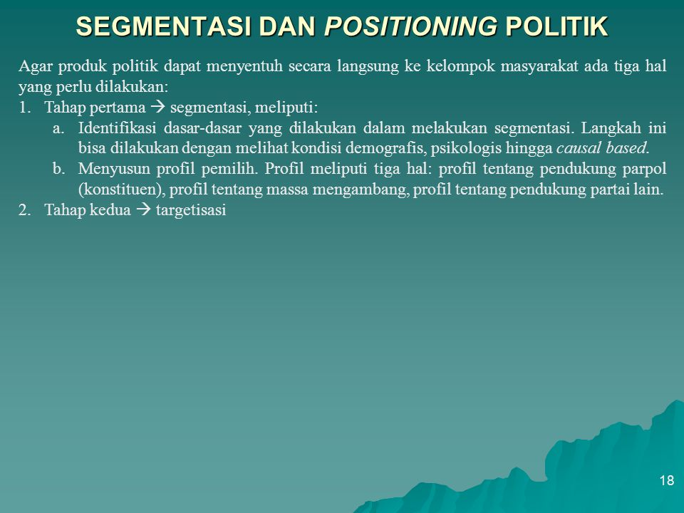 SEGMENTASI DAN POSITIONING POLITIK