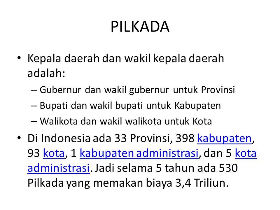 PILKADA Kepala daerah dan wakil kepala daerah adalah: