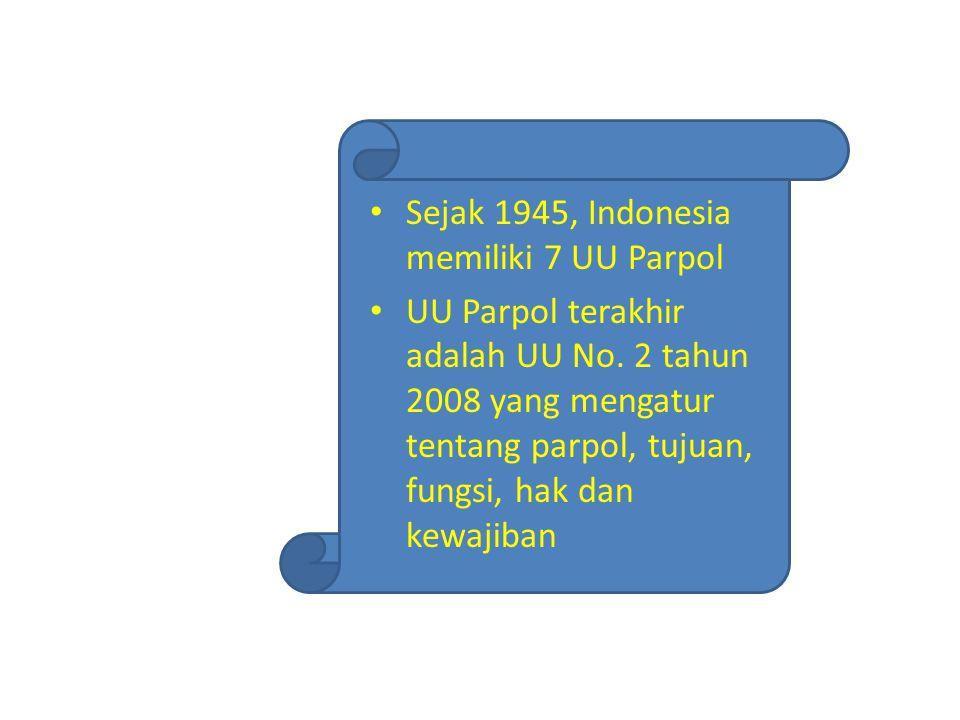 Sejak 1945, Indonesia memiliki 7 UU Parpol