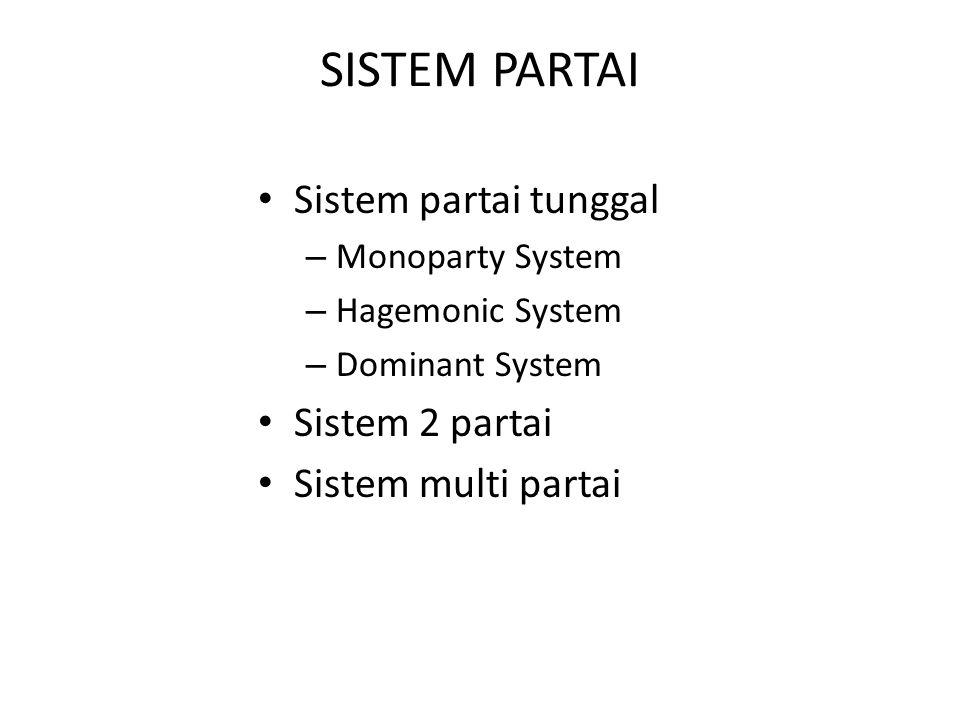 SISTEM PARTAI Sistem partai tunggal Sistem 2 partai