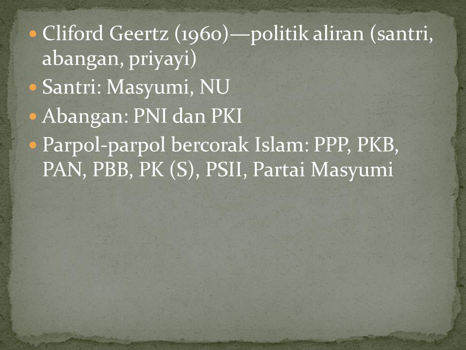 Cliford Geertz (1960)—politik aliran (santri, abangan, priyayi)