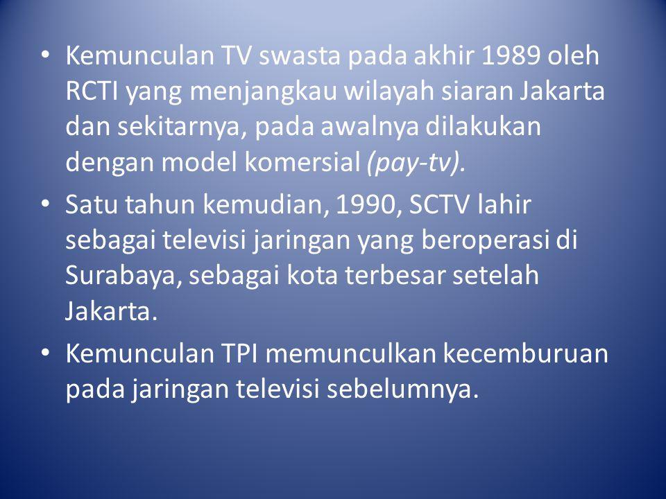 Kemunculan TV swasta pada akhir 1989 oleh RCTI yang menjangkau wilayah siaran Jakarta dan sekitarnya, pada awalnya dilakukan dengan model komersial (pay-tv).