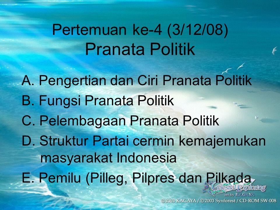 Pertemuan ke-4 (3/12/08) Pranata Politik