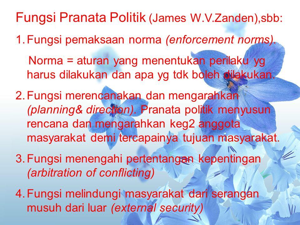 Fungsi Pranata Politik (James W.V.Zanden),sbb: