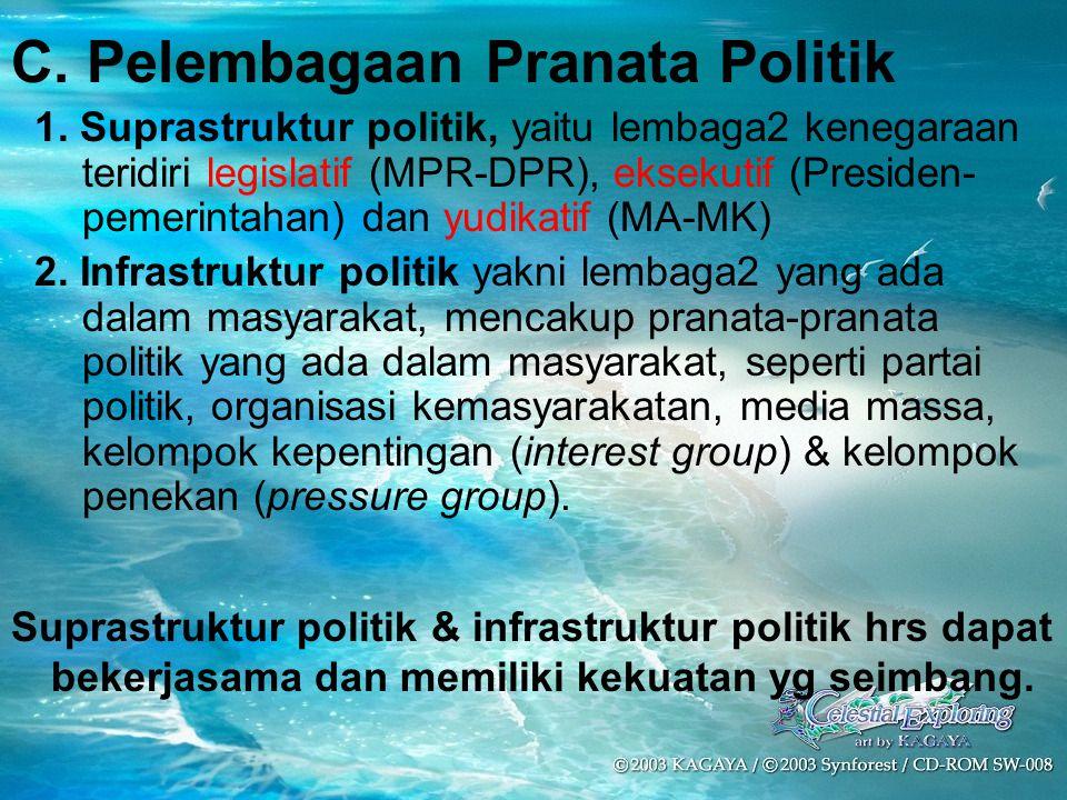 C. Pelembagaan Pranata Politik
