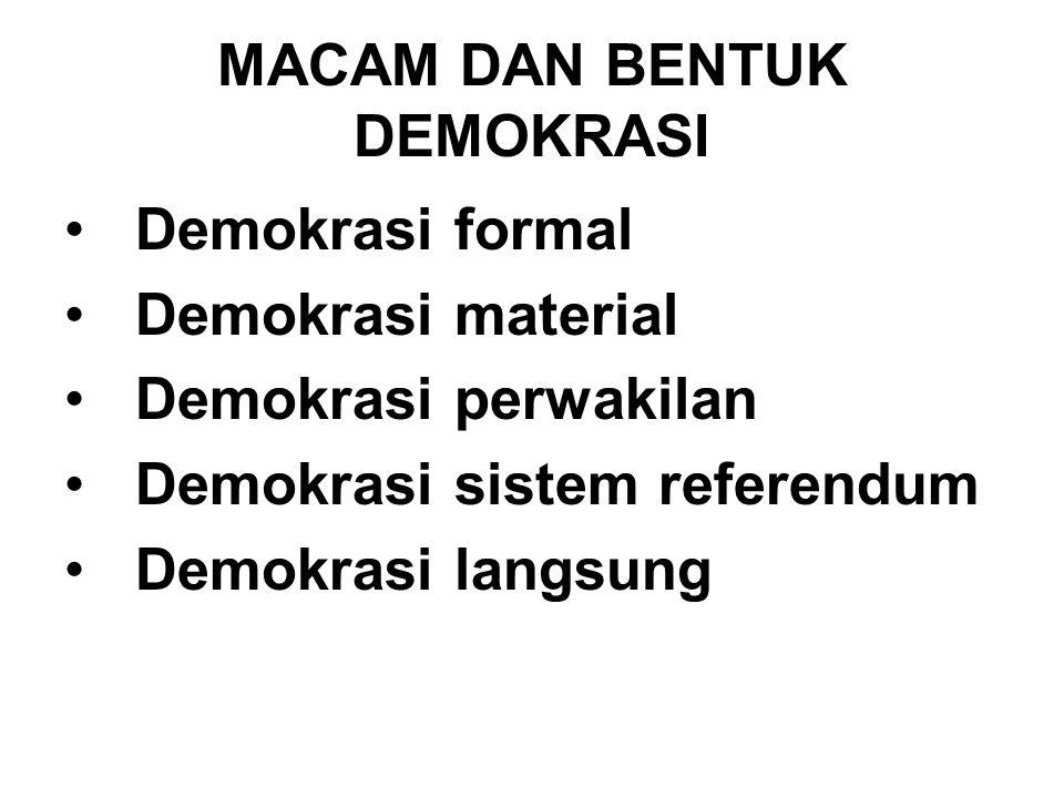 MACAM DAN BENTUK DEMOKRASI
