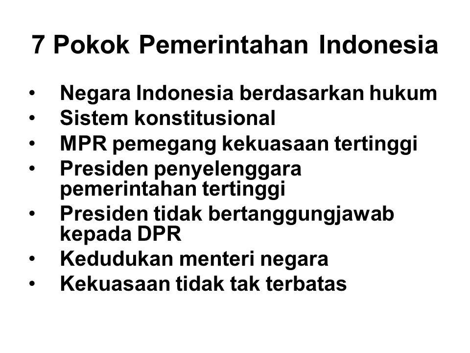 7 Pokok Pemerintahan Indonesia