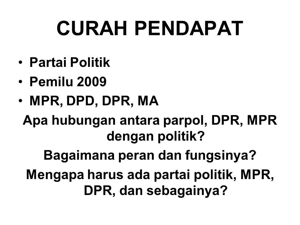 CURAH PENDAPAT Partai Politik Pemilu 2009 MPR, DPD, DPR, MA