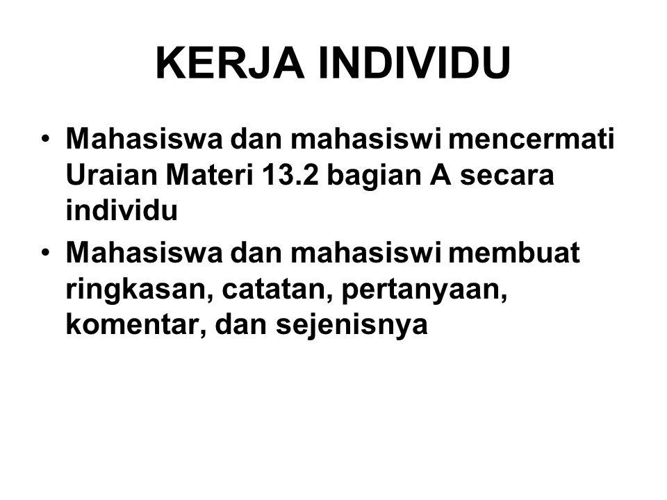 KERJA INDIVIDU Mahasiswa dan mahasiswi mencermati Uraian Materi 13.2 bagian A secara individu.