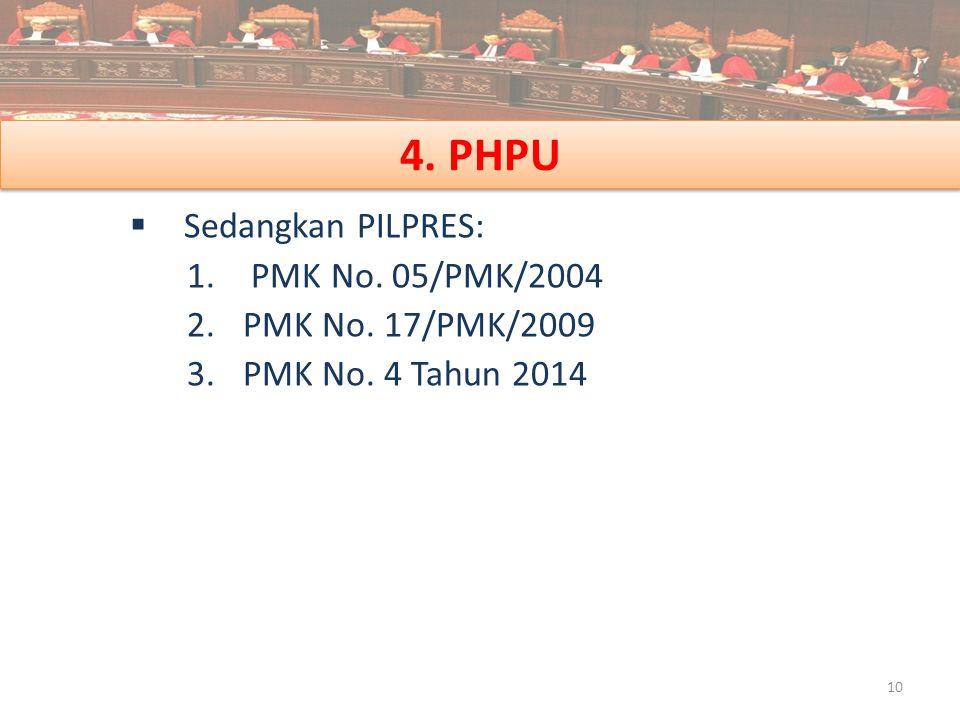 4. PHPU Sedangkan PILPRES: PMK No. 05/PMK/2004 PMK No. 17/PMK/2009