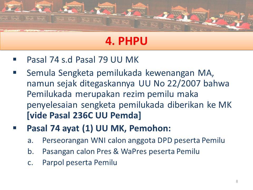 4. PHPU Pasal 74 s.d Pasal 79 UU MK