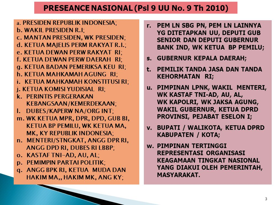 PRESEANCE NASIONAL (Psl 9 UU No. 9 Th 2010)