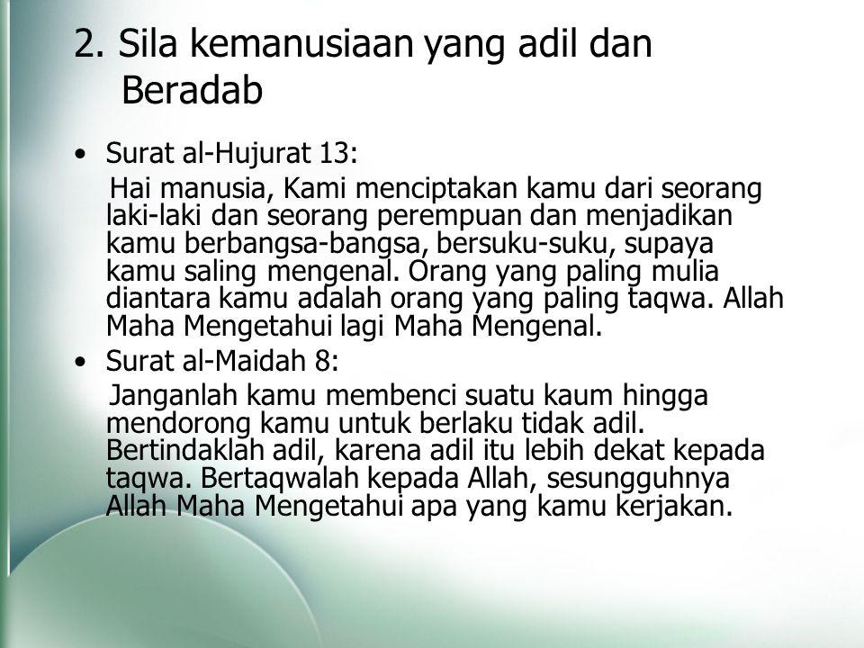 2. Sila kemanusiaan yang adil dan Beradab