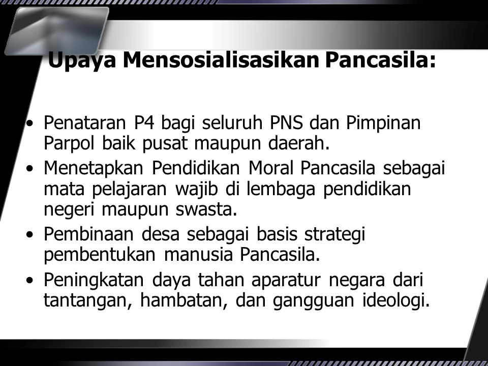 Upaya Mensosialisasikan Pancasila: