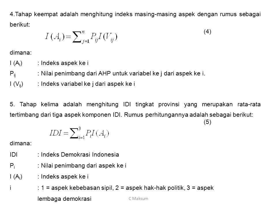 I (Ai) : Indeks aspek ke i