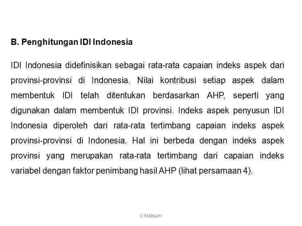 B. Penghitungan IDI Indonesia