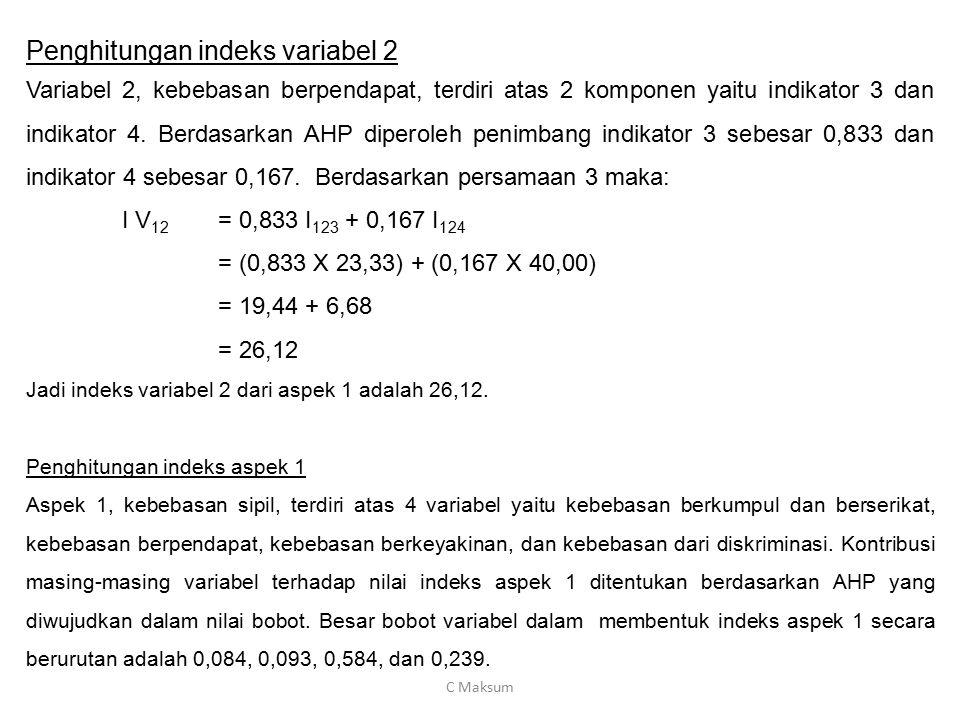 Penghitungan indeks variabel 2