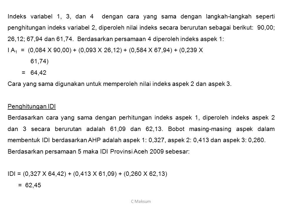 Berdasarkan persamaan 5 maka IDI Provinsi Aceh 2009 sebesar: