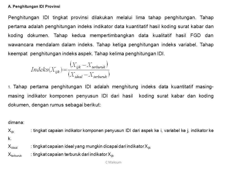 A. Penghitungan IDI Provinsi