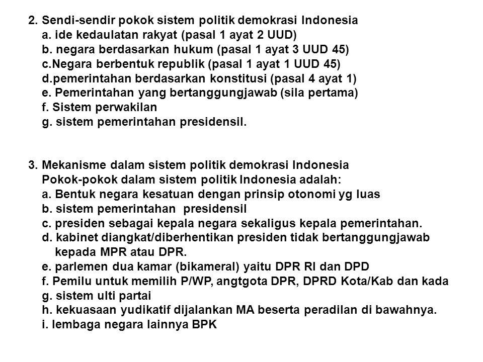 2. Sendi-sendir pokok sistem politik demokrasi Indonesia