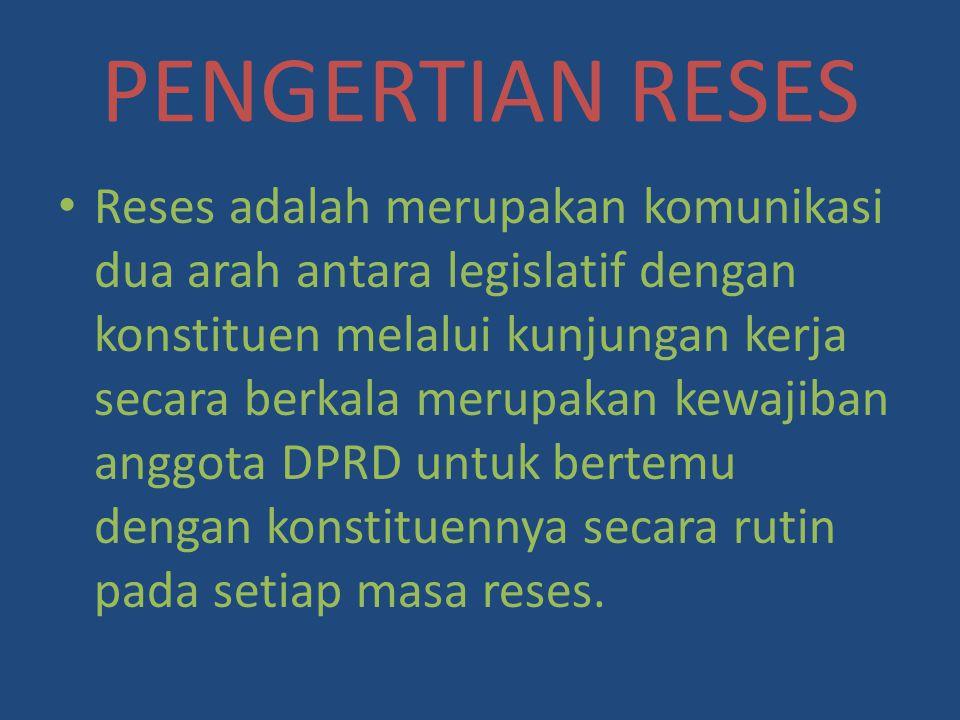 PENGERTIAN RESES
