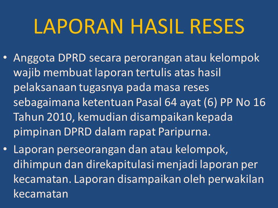 LAPORAN HASIL RESES