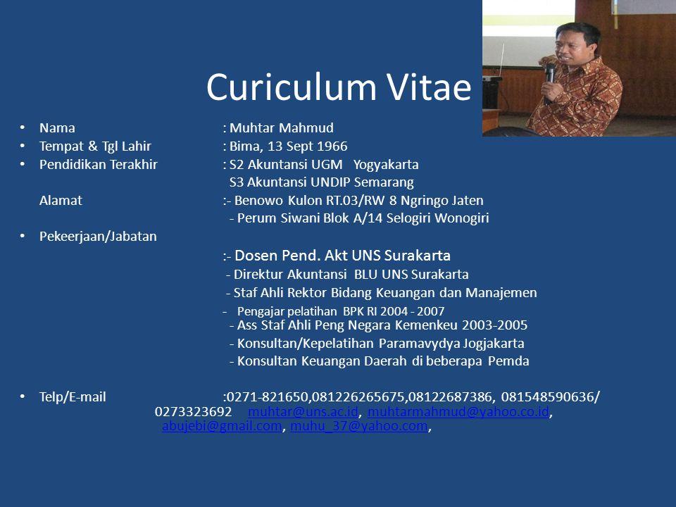 Curiculum Vitae Nama : Muhtar Mahmud