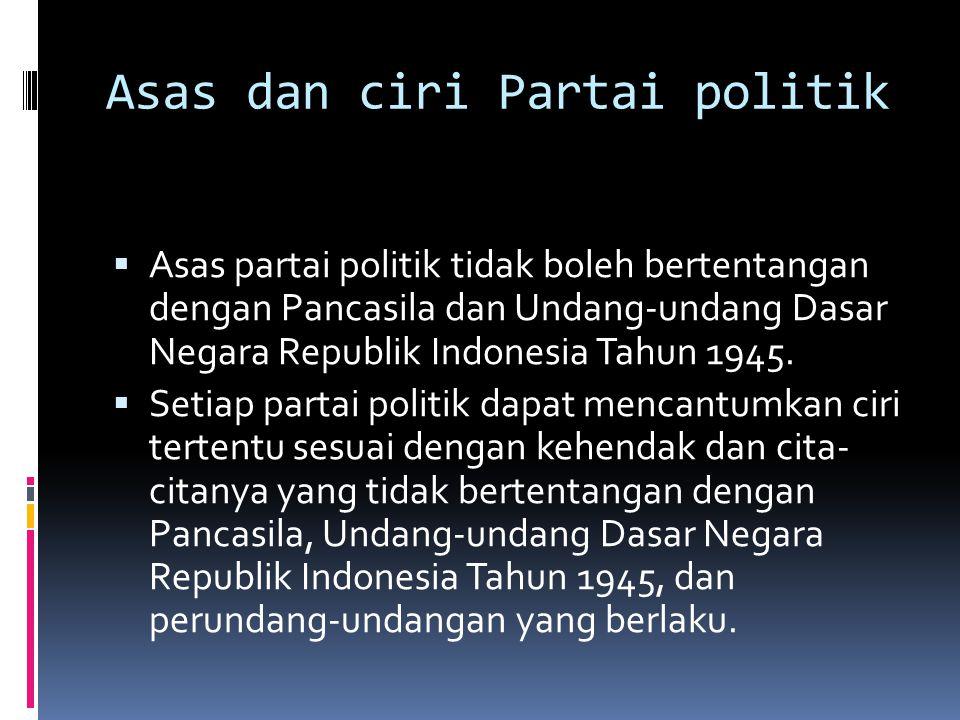 Asas dan ciri Partai politik