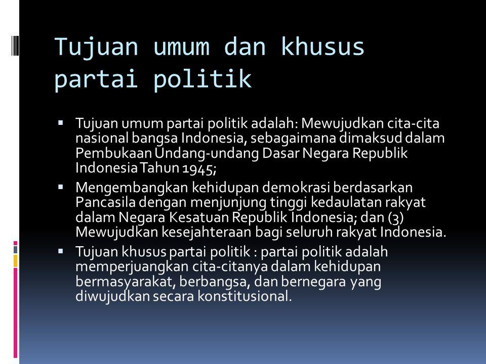 Tujuan umum dan khusus partai politik