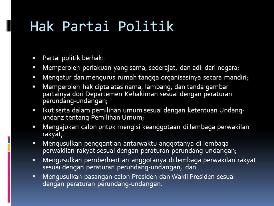 Hak Partai Politik Partai politik berhak: