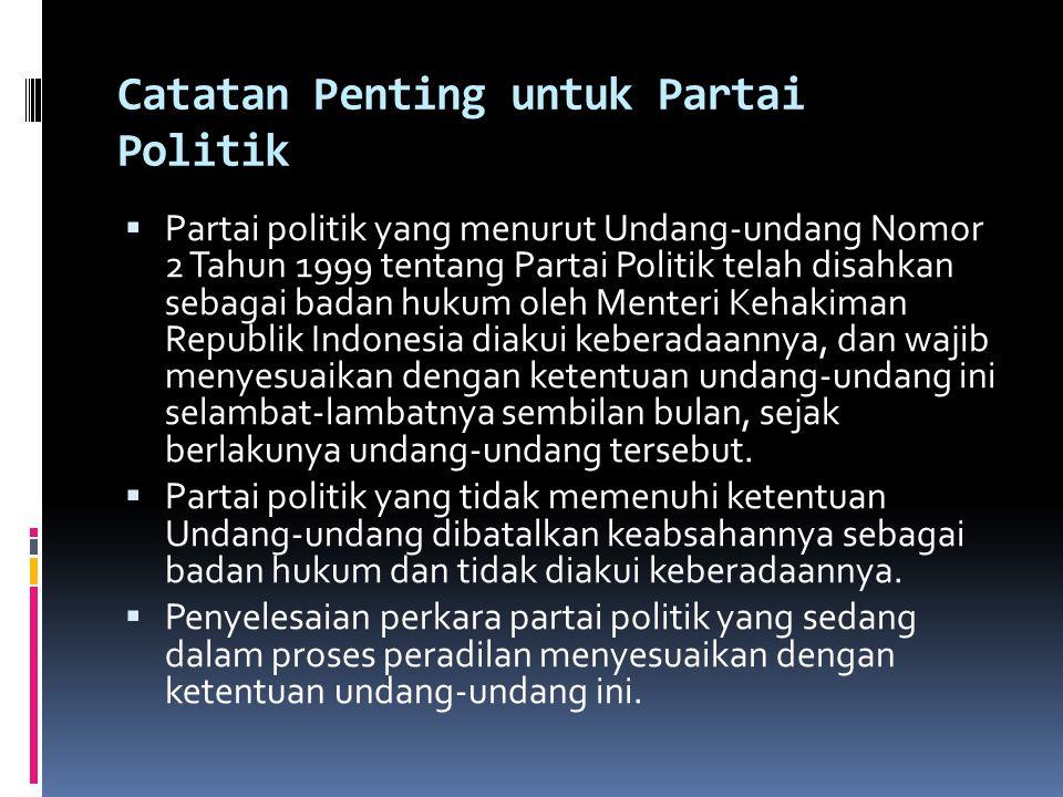Catatan Penting untuk Partai Politik