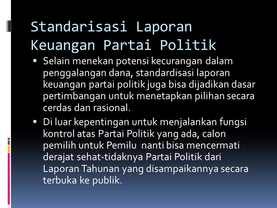 Standarisasi Laporan Keuangan Partai Politik