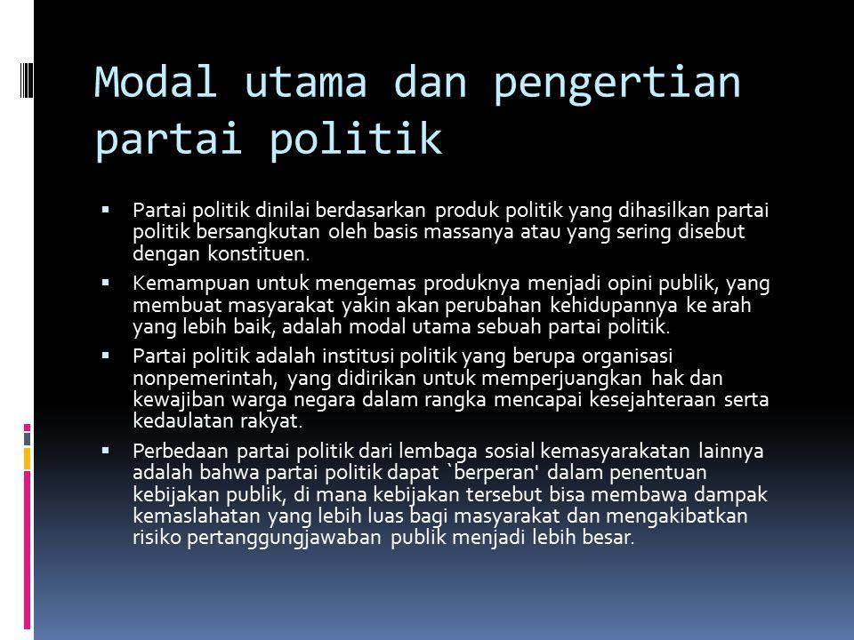 Modal utama dan pengertian partai politik