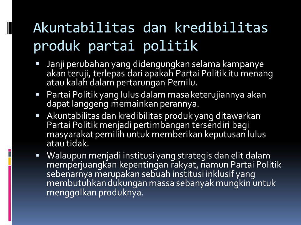 Akuntabilitas dan kredibilitas produk partai politik
