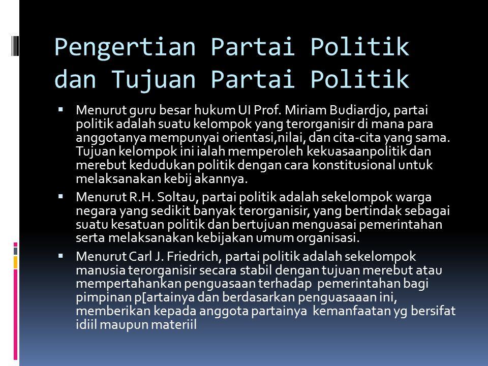 Pengertian Partai Politik dan Tujuan Partai Politik