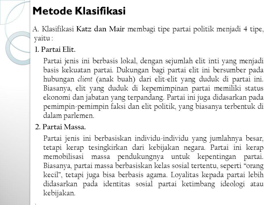 Metode Klasifikasi A. Klasifikasi Katz dan Mair membagi tipe partai politik menjadi 4 tipe, yaitu :