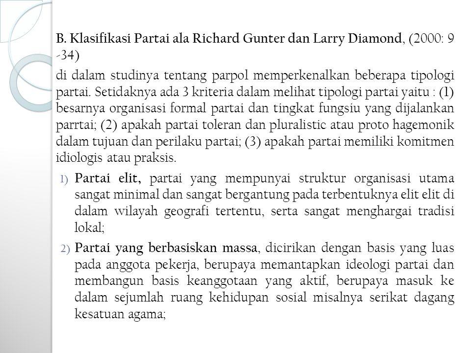 B. Klasifikasi Partai ala Richard Gunter dan Larry Diamond, (2000: 9 -34)