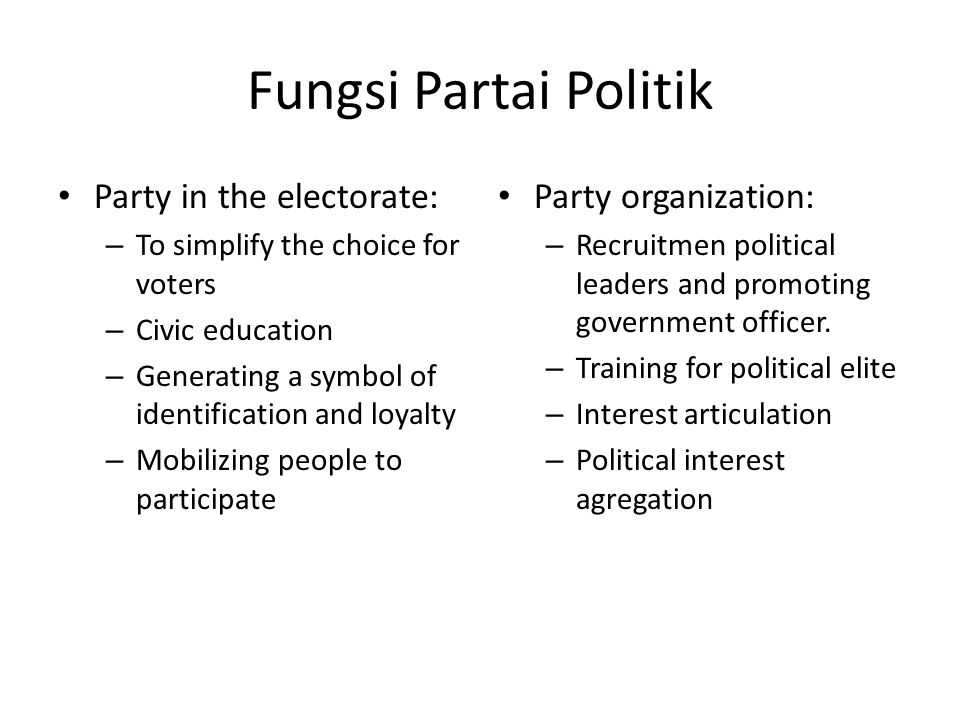 Fungsi Partai Politik Party in the electorate: Party organization: