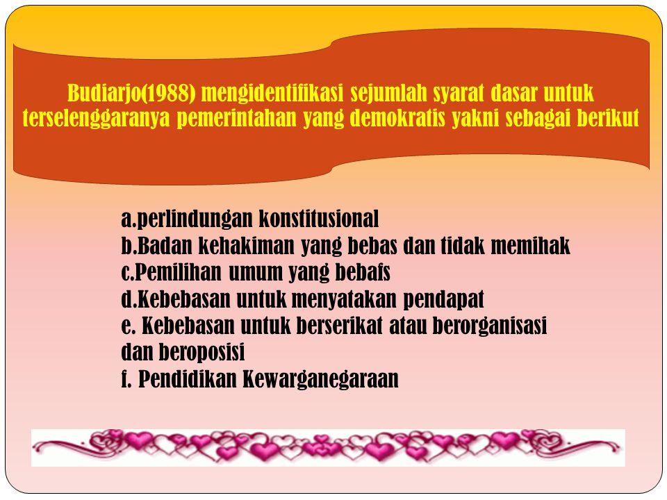 Budiarjo(1988) mengidentifikasi sejumlah syarat dasar untuk terselenggaranya pemerintahan yang demokratis yakni sebagai berikut