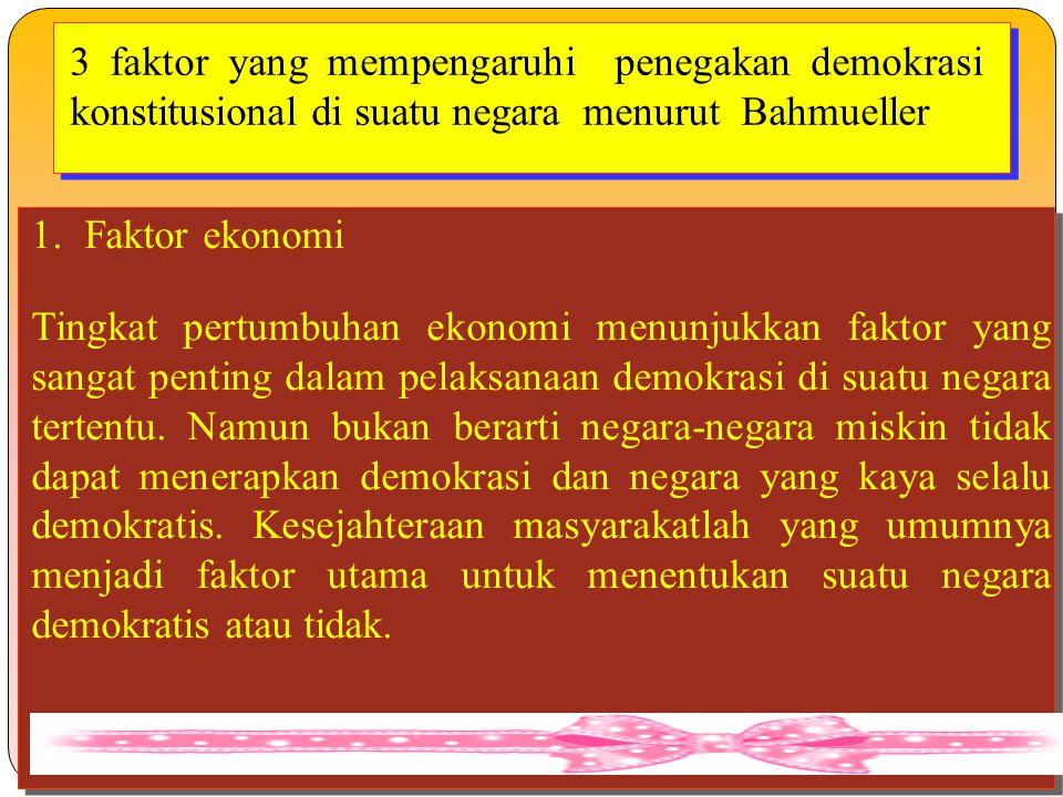 3 faktor yang mempengaruhi penegakan demokrasi konstitusional di suatu negara menurut Bahmueller