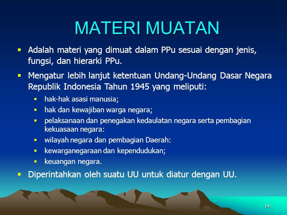 MATERI MUATAN Adalah materi yang dimuat dalam PPu sesuai dengan jenis, fungsi, dan hierarki PPu.