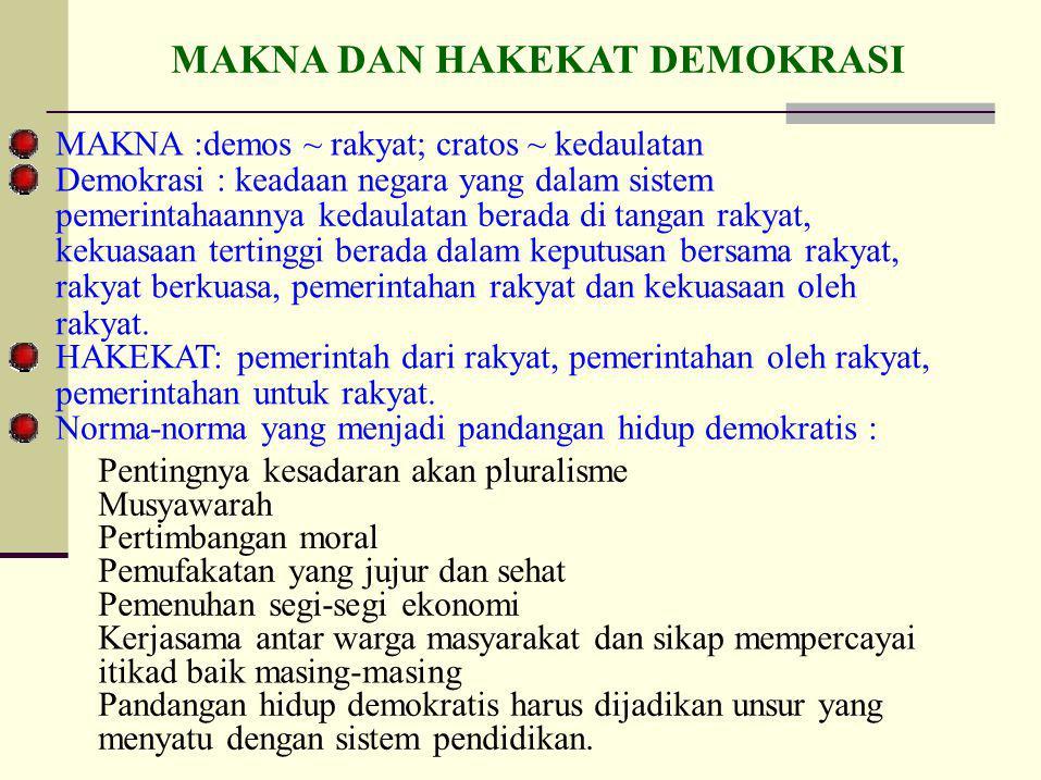 MAKNA DAN HAKEKAT DEMOKRASI