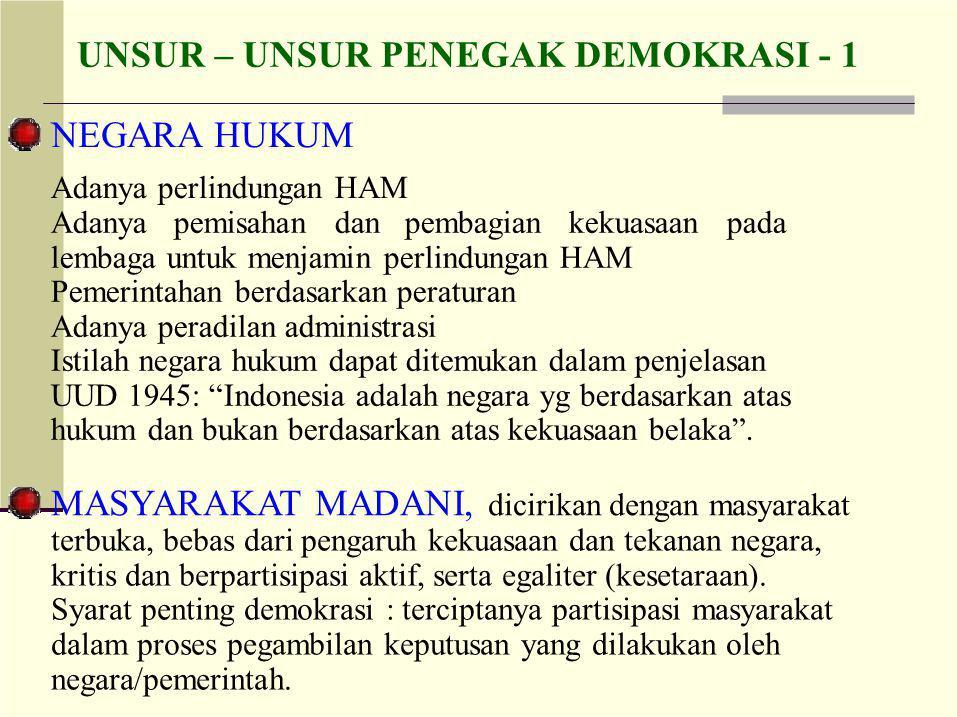 UNSUR – UNSUR PENEGAK DEMOKRASI - 1