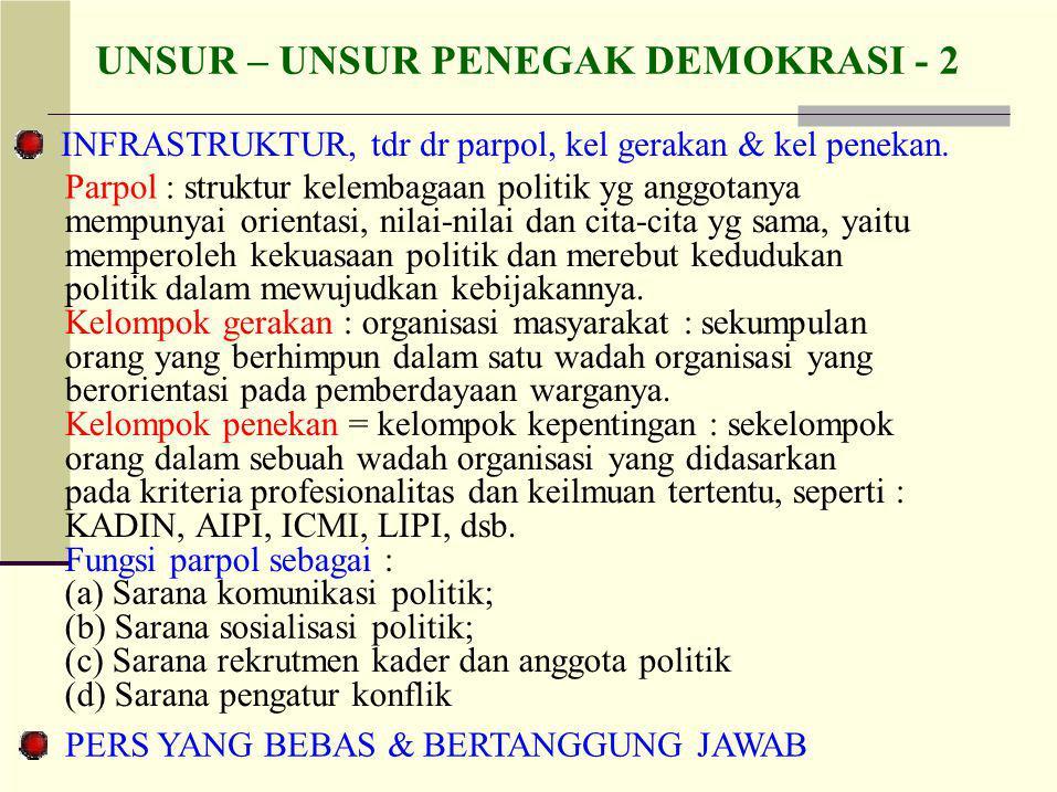 UNSUR – UNSUR PENEGAK DEMOKRASI - 2