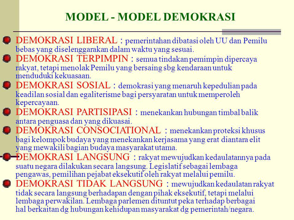 MODEL - MODEL DEMOKRASI