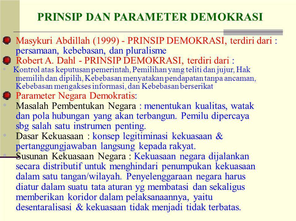 • • • Masykuri Abdillah (1999) - PRINSIP DEMOKRASI, terdiri dari :