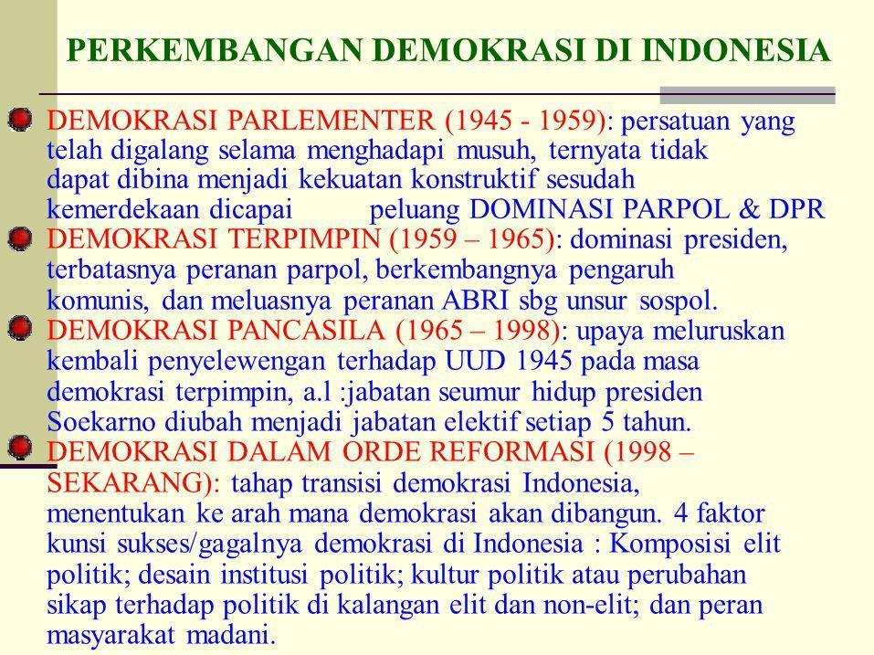 DEMOKRASI PARLEMENTER (1945 - 1959): persatuan yang